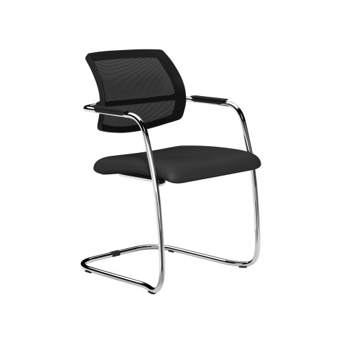 OQ Mid Mesh Backrest Stacking Meeting Chair Chrome Frame in Black