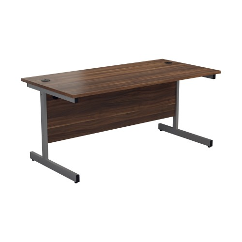 Straight Office Desk with Cantilever Legs W1400 x D800mm - Dark Walnut