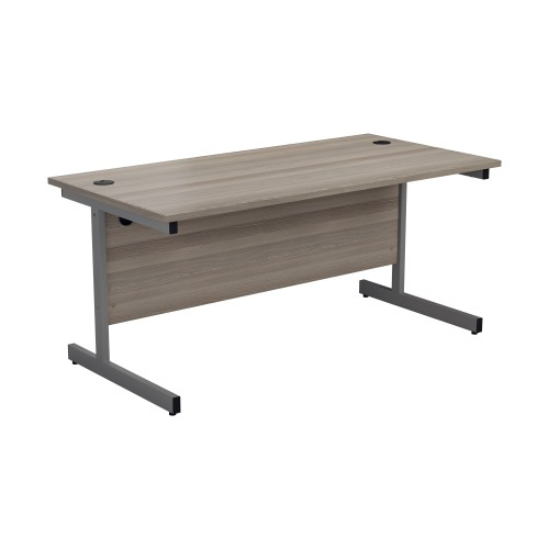 Straight Office Desk with Cantilever Legs W1400 x D800mm Grey Oak