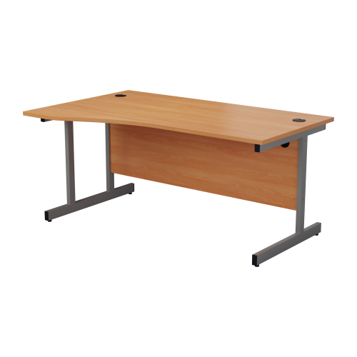 1600mm Left Hand Cantilever Wave Desk - Oak