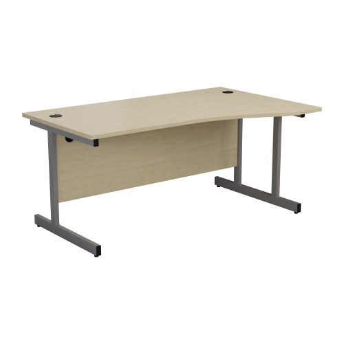 1600mm Right Hand Cantilever Wave Desk - Maple