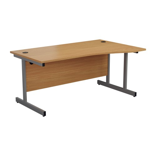 1600mm Right Hand Cantilever Wave Desk Oak