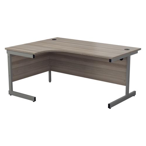 ONE Range Left hand Radial desk 1600mm Grey Oak top Cantilever Legs