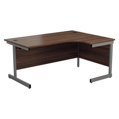 ONE Range Right hand Radial desk 1600mm Dark Walnut top Cantilever Legs