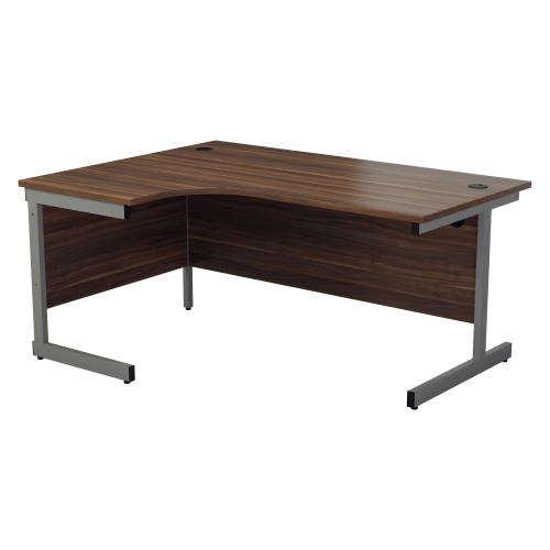 ONE Range Left hand Radial desk 1800mm Dark Walnut top Cantilever Legs