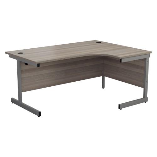 ONE Range Right hand Radial desk 1600mm Grey Oak top Cantilever Legs