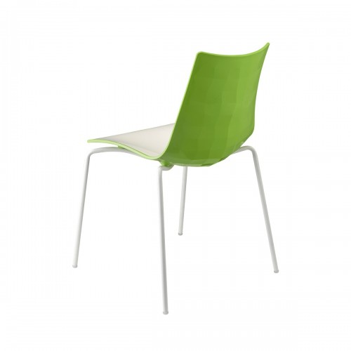 Zebra Bicolore 4 Legs Chair White/Lime Green (Set of 4 Chairs)