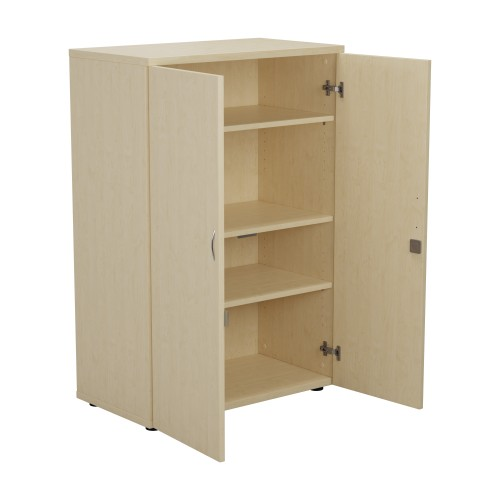 1200mm High Lockable Cupboard 3 Shelf - Maple