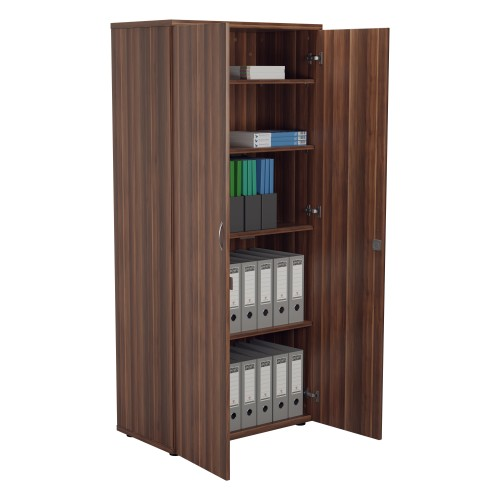 1800mm High Lockable Cupboard 4 Shelf - Dark Walnut