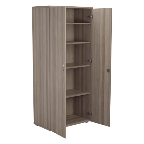 1800mm High Lockable Cupboard 4 Shelf - Grey Oak