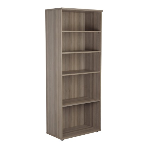 2000mm High Open Bookcase 4 Shelf - Grey Oak