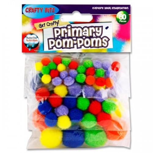 Crafty Bitz Pkt.60 Asst Sizes Pom Poms - Primary Colours