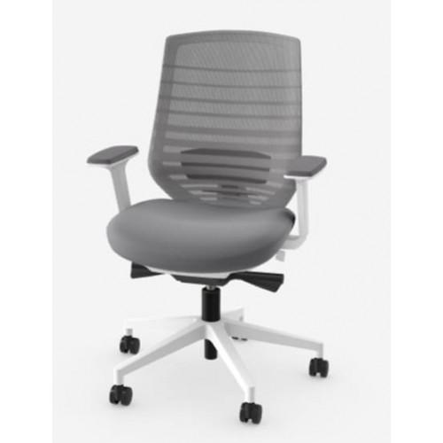 X77 Grey Mesh Back White frame Operators Chair
