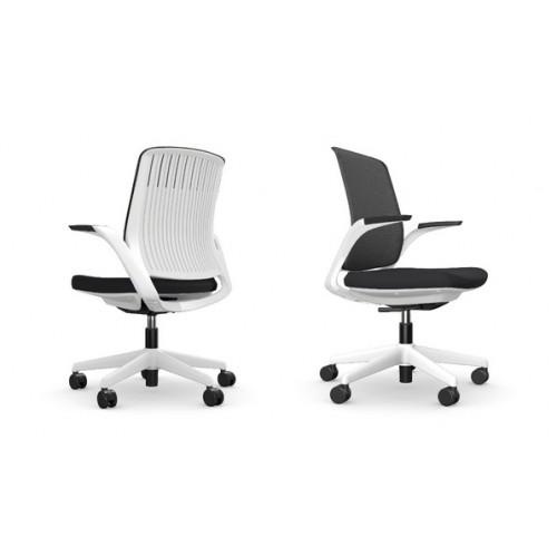 Z.33 Black Mesh Back Operators Chair White frame