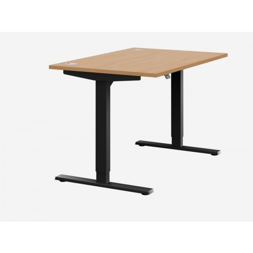 Zoom Electric Height Adjustable Desk Beech Top Black Frame W1400 x D800