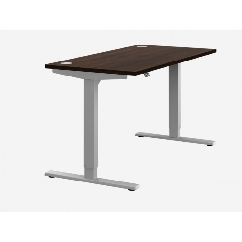 Zoom Electric Height Adjustable Desk Dark Walnut Top Silver Frame W1600 x D800