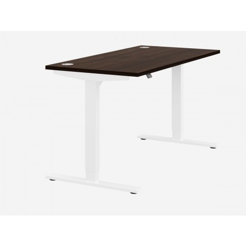 Zoom Electric Height Adjustable Desk Dark walnut Top White Frame W1600 x D800