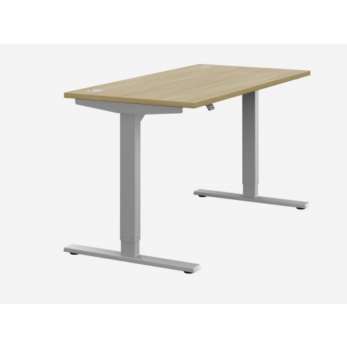 Zoom Electric Height Adjustable Desk Urban Oak Top Silver Frame W1400 x D800