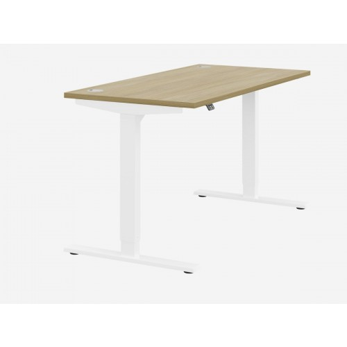 Zoom Electric Height Adjustable Desk Urban Oak Top White Frame W1400 x D800