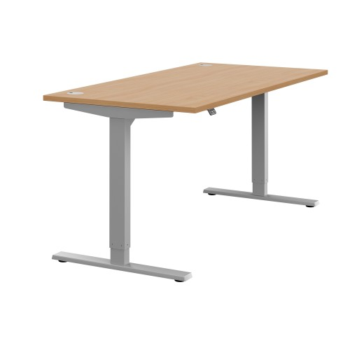 Zoom Electric Height Adjustable Desk Beech Top Silver Frame W1400 x D800