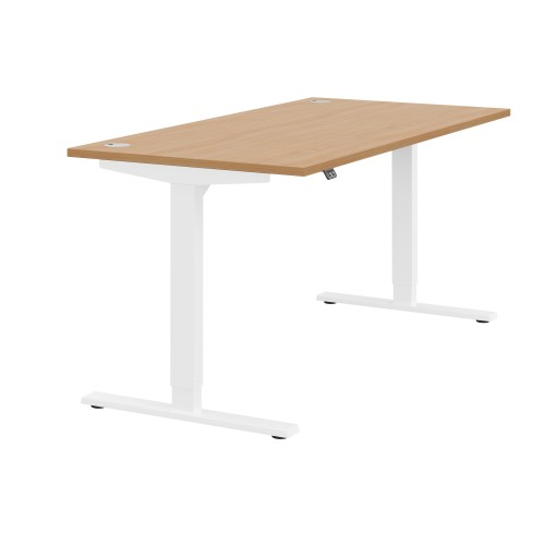 Zoom Electric Height Adjustable Desk Beech Top White Frame W1600 x D800