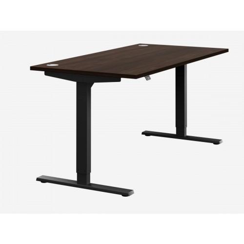 Zoom Electric Height Adjustable Desk Dark Walnut Top Black Frame W1400 x D800