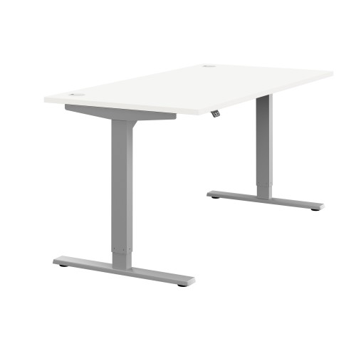 Zoom Electric Height Adjustable Desk White Top Silver Frame W1600 x D800