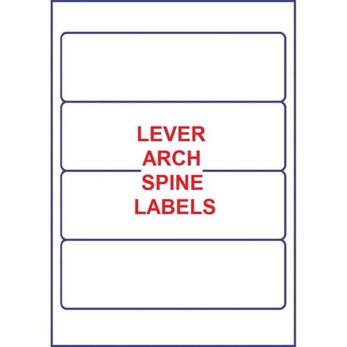 Lever Arch File Spine Labels 4 Per Sheet White (100 sheets)