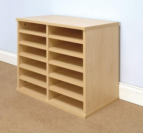 Pigeon Hole Storage Mailsorter, 12 Compartments 2x6 Bays Freestanding, Beech