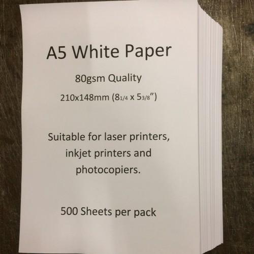 A5 Printer Paper 210 x 148mm White 80gsm (pk500 sheets)