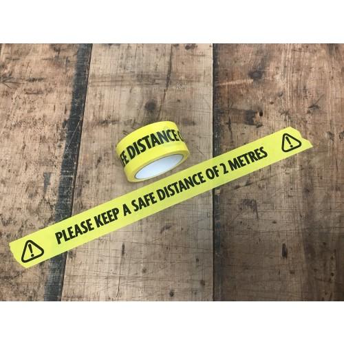 Vinyl Floor Warning Tape 48mm x 33m Yellow with Black Print