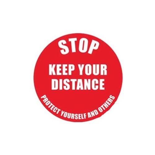 Floor Label with wording - Stop Keep Your Distance - 235mm Diameter