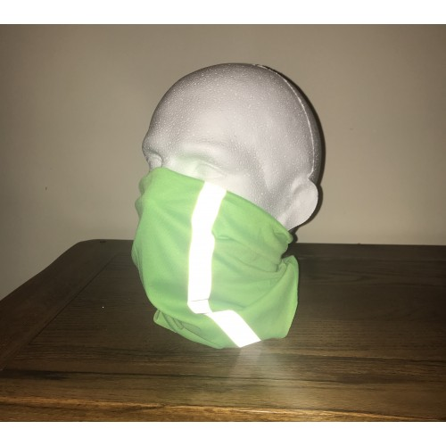 Multi-purpose, Snood, Face Covering, Head Tube Lime Green With Reflective Strip