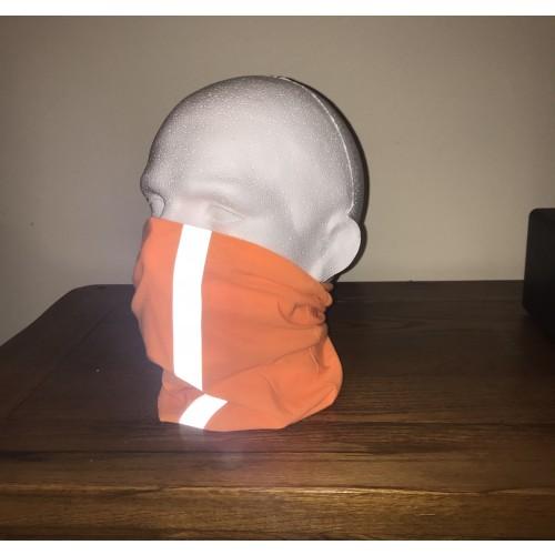 Multi-purpose, Snood, Face Covering, Head Tube Bright Orange With Reflective Strip