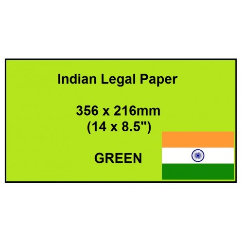 """Indian Green Legal Paper 80gsm - Size 14 x 8.5"""" (356 x 216mm) - Small Pack of 100 Sheets"""