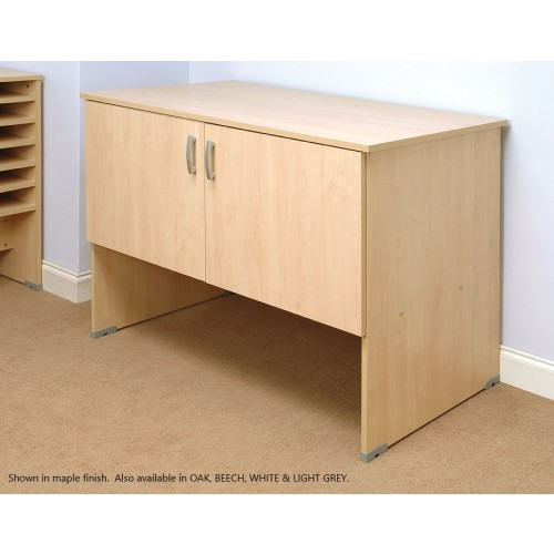 Mailroom Table With Cupboard For Pigeon Hole Storage 1280x700x880mm Beech
