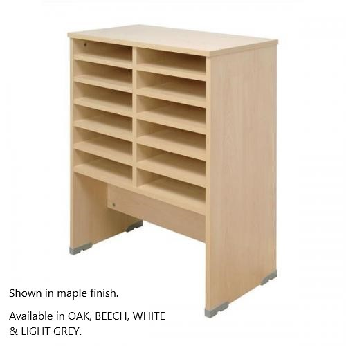 Pigeon Hole Storage Mailsorter, 12 Compartments 2x6 Bays, Beech