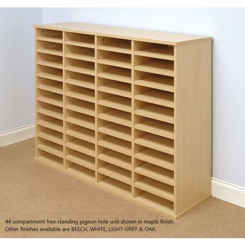 Pigeon Hole Storage Mailsorter, 44 Compartments 4x11 Bays, Free Standing - Beech