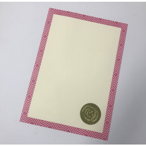 Certificate Paper with Pink Border on 100gsm Ivory Bond and Gold Embossed Seal (30 sheets)