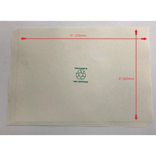 """UK Foolscap Natural White Recycled Printer Paper 80gsm 13x8"""" (330 x 203mm)"""