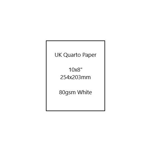 "UK Quarto size Paper 10x8"" (254 x 203mm) white 80gsm - Ream of 500 Sheets"