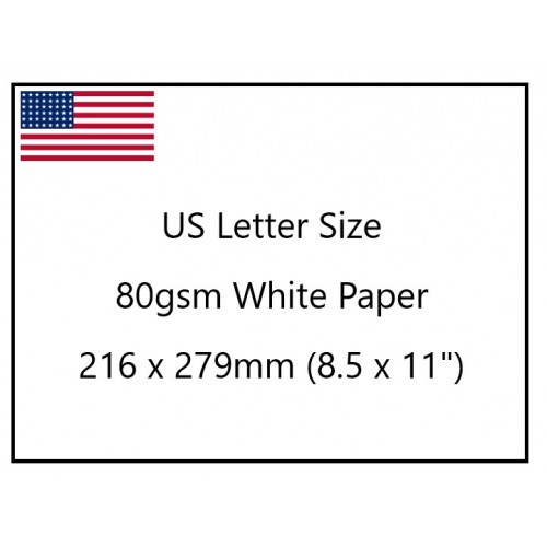 """American Letter Size White Paper 80gsm 279 x 216mm (11 x 8.5"""") pk500 sheets"""