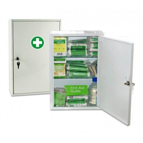 First Aid Cabinet (filled) 50 person HSE kit inside