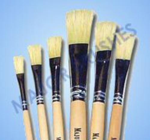 Hog Bristle Flat Tip size 6 Short Handle Brushes 10pk