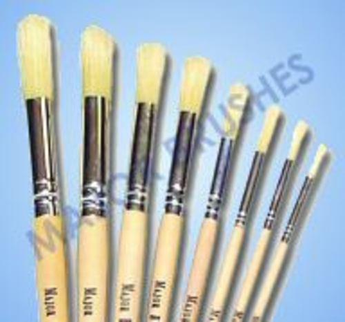 Hog Bristle Round Tip Size 16 Short Handle Brush 10pk