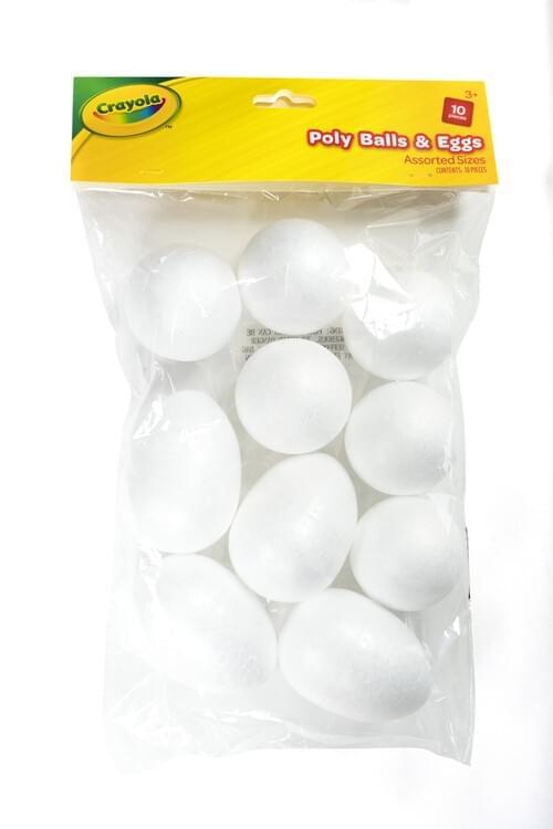 Crayola Craft-Poly Eggs & Balls Astd Sizes 10 pces