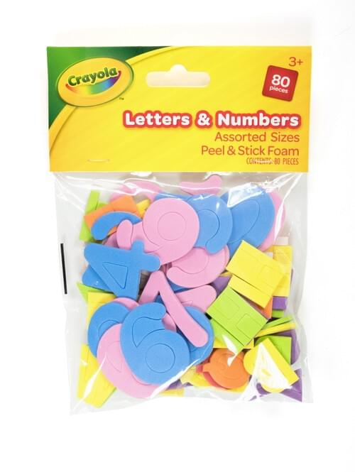 Crayola Craft-Foam Letters& Numbers peel & stick 80 pces