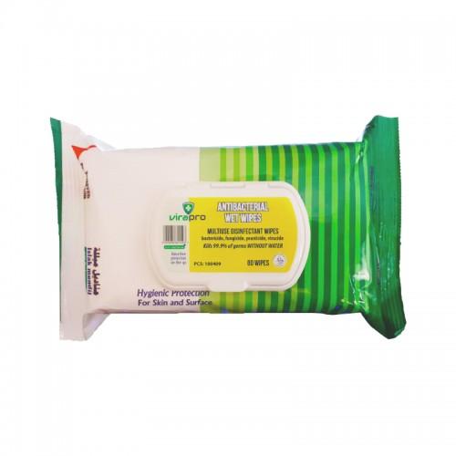 VIRAPRO WIPES CLEAN 99.9% ANTI BACTERIAL PK80