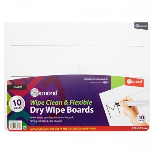 Ormond Pkt.10 228x305mm Dry Wipe Boards - Wide Ruled