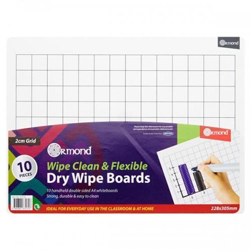 Ormond Pkt.10 228x305mm Dry Wipe Boards - 2cm Grid